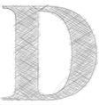 Freehand typography letter d vector