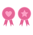 Badge set with heart star star heart and ribbons vector