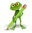 Frog with pencil vector