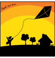 Boy with kite flying in the countryside vector