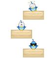 Cute blue birds on wooden sign set 2 vector