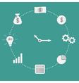 Business icon clock dash line circle money coin vector