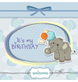 Baby boy birthday card with elephant vector