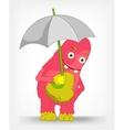 Funny monster under umbrella vector