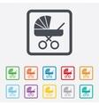 Baby pram stroller sign icon baby buggy symbol vector