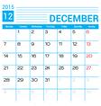 December 2015 calendar page template vector