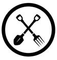 Garden icon with tools vector
