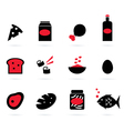 Retro food icons set isolated on white - black vector