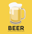 Glass of beer with foam on yellow background vector
