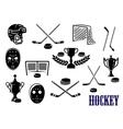 Ice hockey icons with caption hockey vector