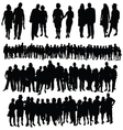 Couple and big group of people silhouette vector