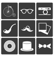 Icons with set hipster items vector