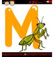 Letter m for mantis cartoon vector