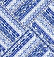Blue geometric tribal ornaments pattern vector