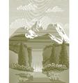 Woodcut waterfall vector