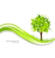 Background with abstract green tree vector