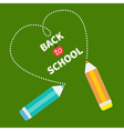 Back to school card card two pencils dash heart vector