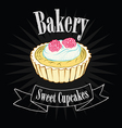 Cupcake on blackboard vector