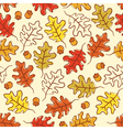 Oak leaves and acorn seamless pattern vector