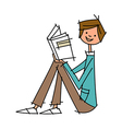 Close-up of boy holding book vector