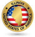 Illinois state gold label with state map vector