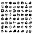 Shopping set flat black icons vector