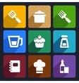 Kitchen flat icons set 24 vector