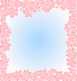 Sakura flowers spring background frame vector