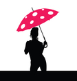 Girl holding red umbrella silhouette vector