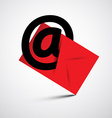 Black at sign and red envelope - email symbol vector