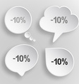 -10 white flat buttons on gray background vector