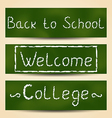 Set school card with text vector