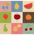 Doodle fruit icons in retro colors vector