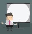 Businessman with projector screen vector