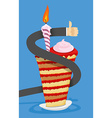 Happy birthday cake with candle businessman hand vector