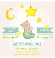Baby boy arrival card - baby bear with moon vector