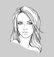 Face of a young woman with long hair vector