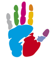 Colored hand print vector