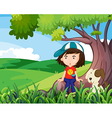 A young girl and her pet under the tree vector