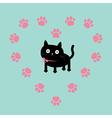 Cat inside paw print heart frame flat design vector
