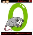 Letter o for opossum cartoon vector