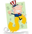 Waving uncle sam riding a dollar symbol vector