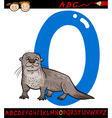Letter o for otter cartoon vector