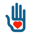 Hand and heart logo design template love vector