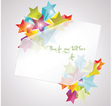 Card with white paper and 3d glass stars vector