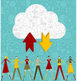 Cloud computing people over social icons set vector