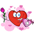 Red valentine heart character holding a rose vector