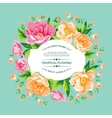 Vintage frame of yellow flowers on a blue vector