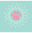Paw print with shining effect ray of light blue vector