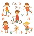 Cute little girls vector